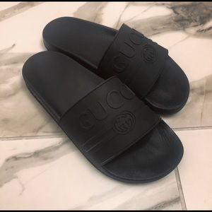 women's black rubber st gucci slide 38 8